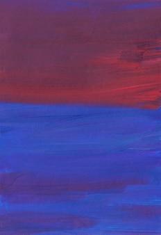 Абстрактный художественный фон, темно-синие, красные, фиолетовые мазки кистью на бумаге
