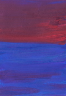 Abstract artistic background, dark blue, red, purple brush strokes on paper