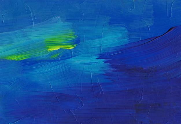 Абстрактная художественная фоновая живопись, темно-синие и желтые мазки на текстуре бумаги