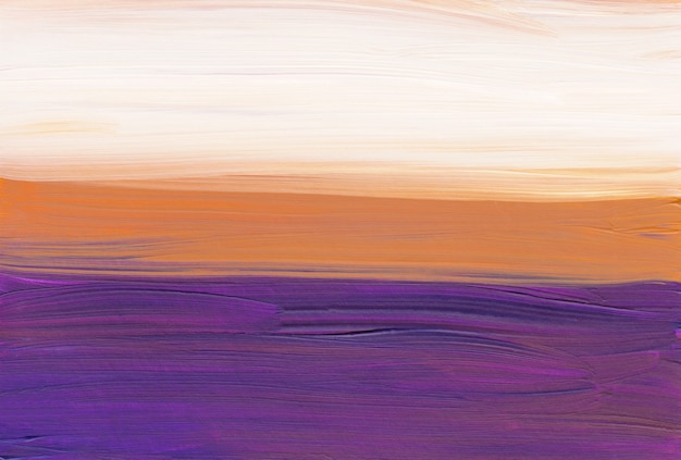 Abstract artistic background, purple, yellow and white painting brush strokes on paper