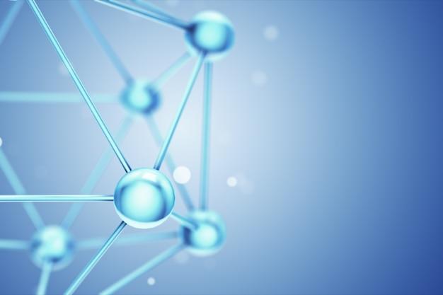 유리 및 결정 3d 그림에서 추상 원자 또는 분자 구조