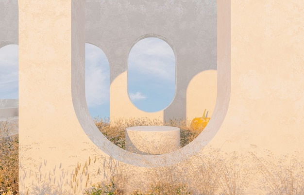 Абстрактная осенняя пейзажная сцена с товарным стендом и тыквами
