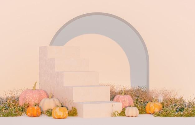 Абстрактная осенняя сцена с товарным стендом и тыквами