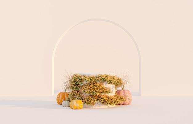 Abstract autumn scene with product stand and pumpkins
