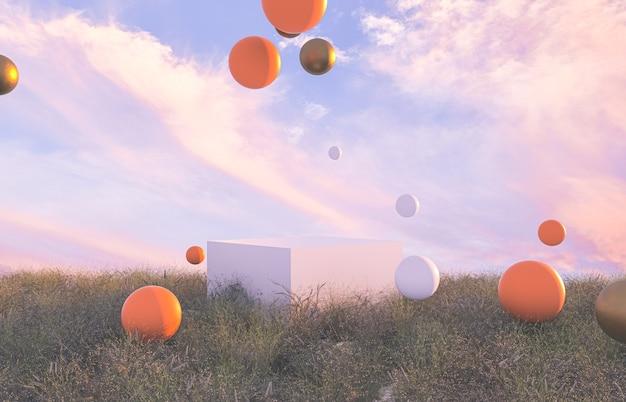 Абстрактная осенняя сцена с белым подиумом и геометрическими шарами.