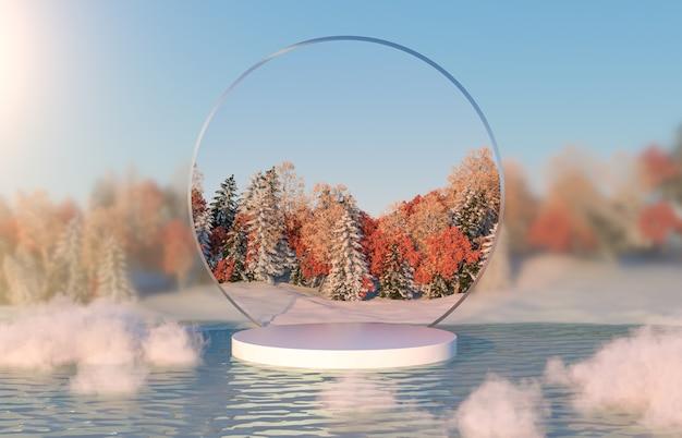 Абстрактная осенне-зимняя пейзажная сцена с подставкой для продуктов