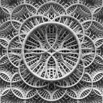 추상적인 배경, 3d 렌더링된 요소가 반복되는 장식품으로 디자인을 형성하고 있습니다.