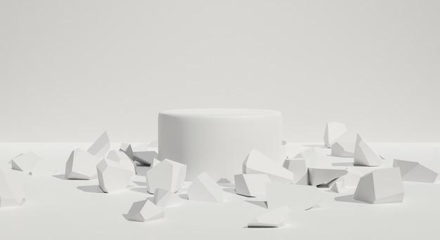 추상적 인 배경. 3d 바위 돌 또는 흰색 연단 스탠드.