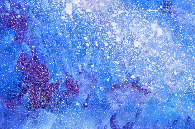 Abstract background acrylic painting with blue, purple and white colors.
