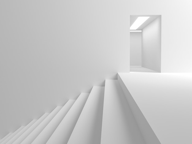 抽象的な背景すべての白いシーン部屋の入り口に通じる階段があります