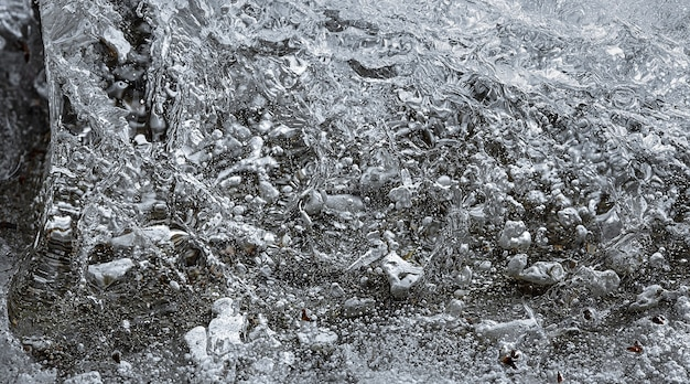기포에 얼음의 추상적 인 배경과 질감