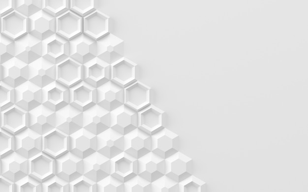 Abstract background based on random volumetric hexagonal elements 3d illustration