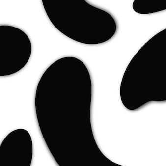 白い背景の上の抽象的な背景の黒い色のペンキ