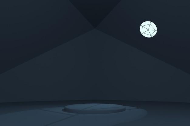 제품 디스플레이 렌더링을위한 추상적 인 배경 검은 장면