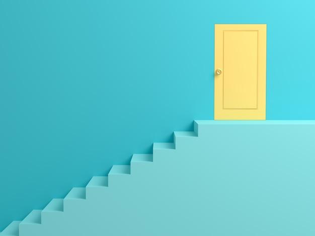 抽象的な背景黄色の成功の扉への青いはしご。 3dシーン。