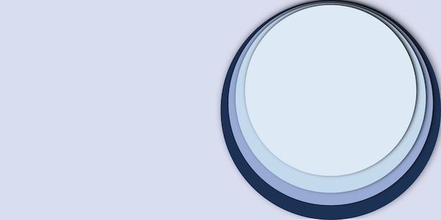 디자인을 위한 원형 종이 컷 효과가 있는 추상 배경 파란색 템플릿