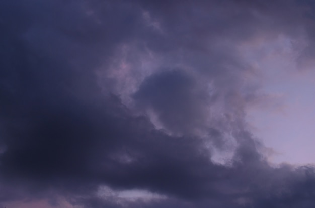 Abstract background of cloudy sunset sky blue hour.