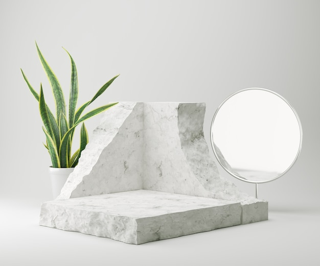 Abstract background for cosmetic product display stone podium minimal background