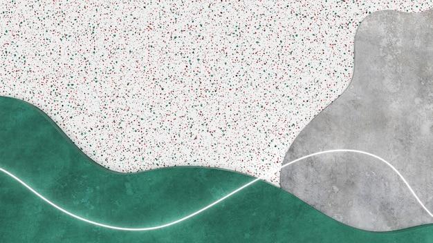 추상적 인 배경. 곡선 콘크리트, 테라 조 화강암 모양, 흰색 네온 빛나는 선. 3d 그림.