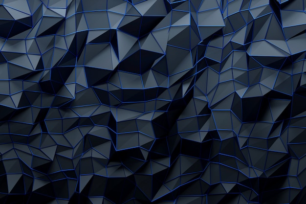 Abstract background of dark blue three dimesional tringles with shiny blue frame on top.
