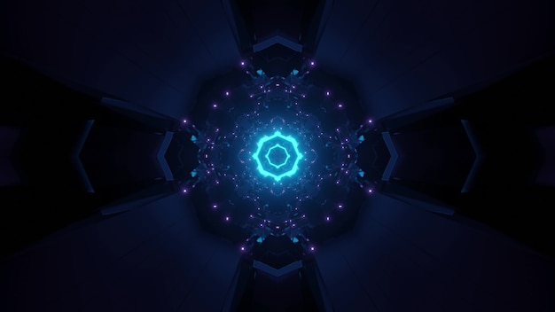 Abstract background of dark circle shaped futuristic tunnel glowing with blue light