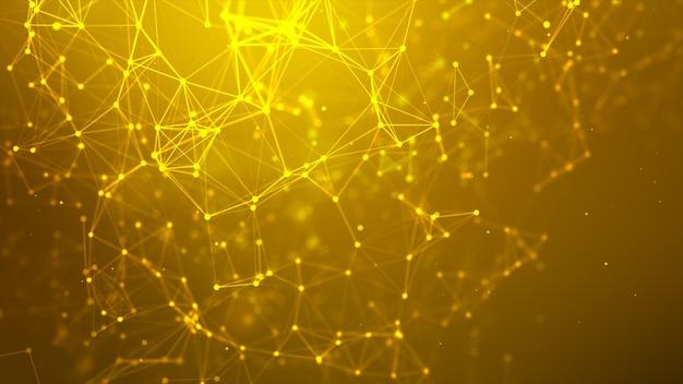 추상적인 배경 도트 및 사이버 기술 미래 및 네트워크 연결 개념에 대한 연결선은 어둡고 그레인 처리된 와이드 스크린 비율