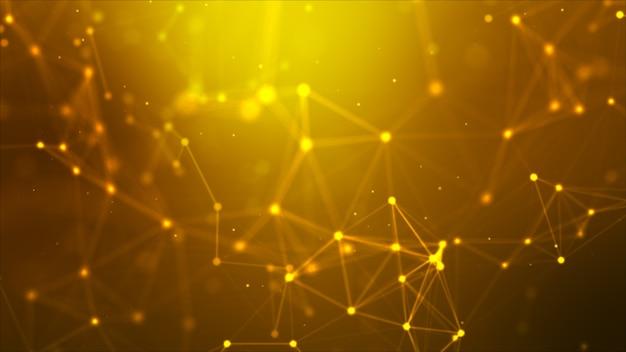 추상적 인 배경 점 및 미래 사이버 기술에 대한 연결 라인