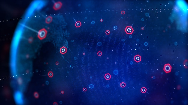 Abstract background dot blue world map with hexagon shape for a cyber futuristic concept shallow depth of field