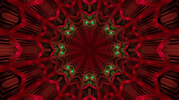 Abstract background of endless red tunnel with geometric shapes and green neon illumination