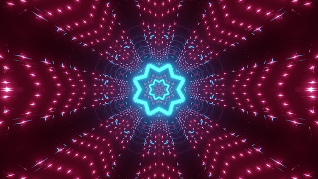 Abstract background of endless star shaped tunnel illuminated by bright blue and pink lights