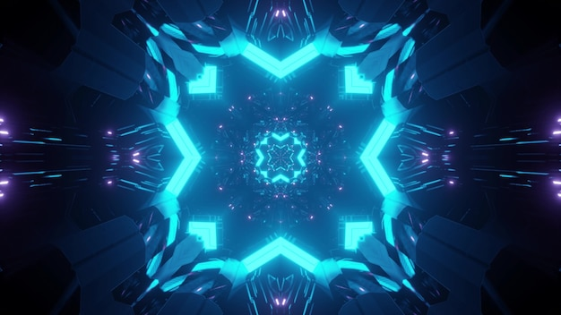 Abstract background of endless symmetric tunnel with glowing neon lights