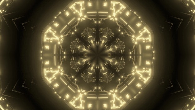 Abstract background of endless tunnel in shape of circle glowing with sepia neon light