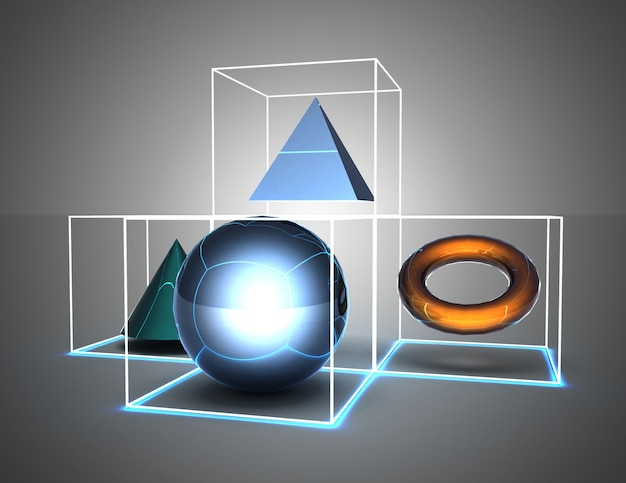 Abstract background figures in cubes. 3d illustration