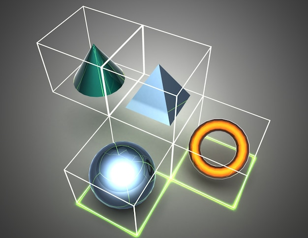 큐브에서 추상적 인 배경 인물입니다. 3d 그림