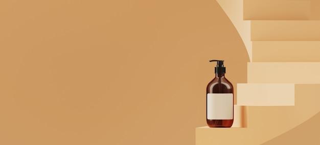 ブランディングと最小限のプレゼンテーションの抽象的な背景。ベージュ色の螺旋階段の化粧品ボトル。 3 dレンダリング図。