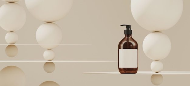 ブランディングと最小限のプレゼンテーションの抽象的な背景。白い色の円形の飛行機と白い背景の上の球の化粧品ボトル。 3 dレンダリング図。