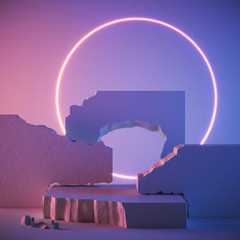 Абстрактный фон для демонстрации косметических продуктов, каменный подиум. 3d-рендеринг.
