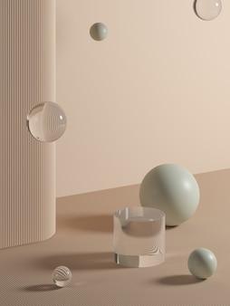 제품 브랜딩에 대한 추상적 인 배경입니다. 빈 공간으로 장면을 모의합니다. 3d 렌더링