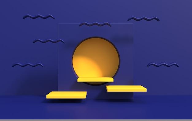아트 데코 스타일의 연단에 제품 데모를위한 추상적 인 배경, 3d 렌더링