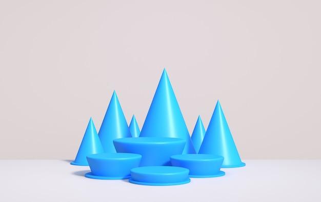 Абстрактный фон для демонстрации продукта на подиуме в стиле арт-деко, 3d визуализация Premium Фотографии