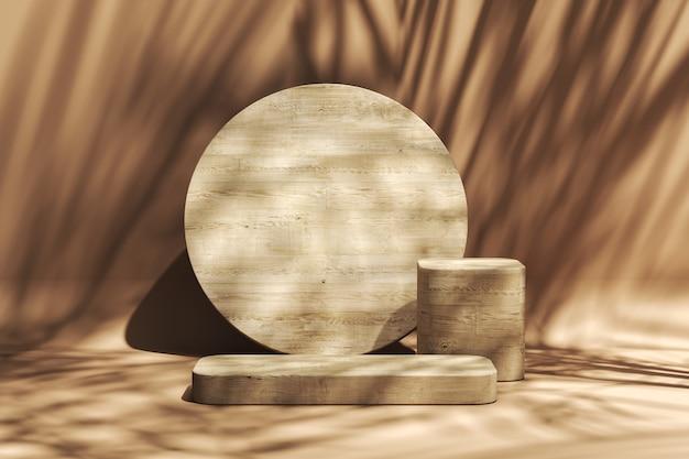 제품 프레젠테이션을 위한 추상적 배경, sunshade 열대 식물은 나무 플랫폼, 여름 분위기에 그림자를 드리웁니다. 3d 렌더링