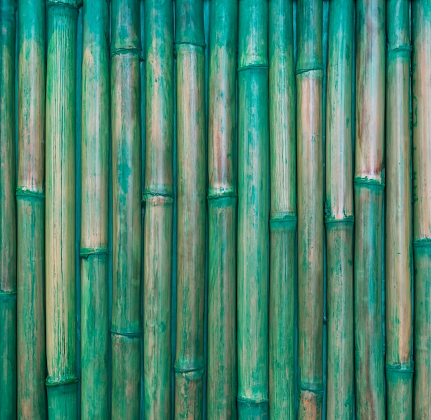 Abstract background from bamboo pattern wall with green painted. retro and vintage.