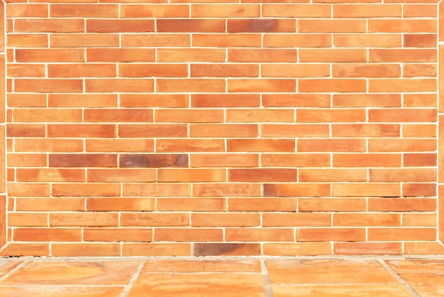 Abstract background from brown brick wall with floor.