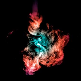 Абстрактный фон из цветного дыма на спине.