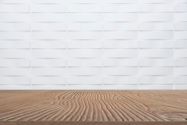 Abstract background from empty wooden tabletop for show product with white marble wall background.