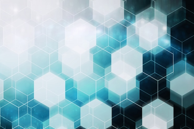 Abstract background from pattern of double exposure of hexagon shape with light.
