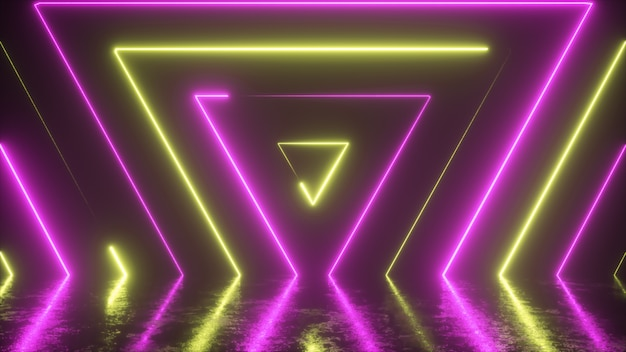 Abstract background from seamlessly appearing neon colorful triangles
