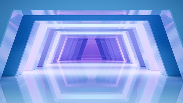 Abstract background futuristic glossy style with blue and violet light, 3d render