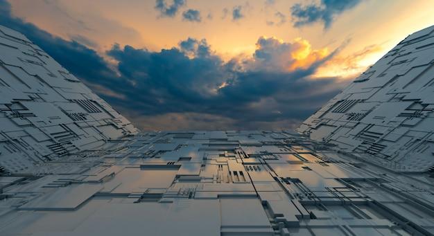 抽象的な背景の未来的な機械と空