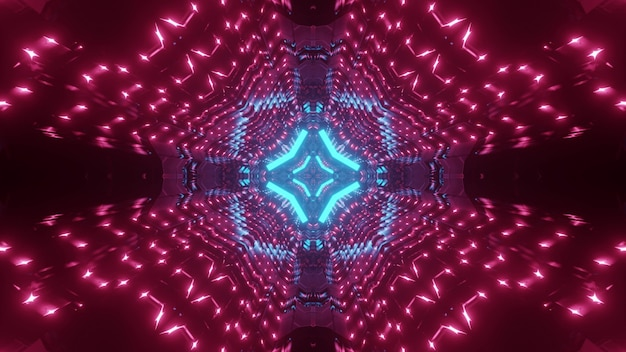 Abstract background of futuristic tunnel with geometric shapes glowing with blue and pink neon lights